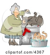 Happy Dog Being Groomed Clipart by Dennis Cox