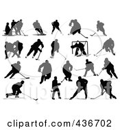 Royalty Free RF Clipart Illustration Of A Digital Collage Of Hockey Silhouettes