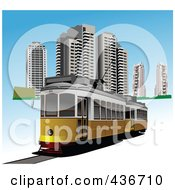 Royalty Free RF Clipart Illustration Of A City Tram by leonid