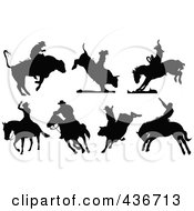 Royalty Free RF Clipart Illustration Of A Digital Collage Of Rodeo Silhouettes