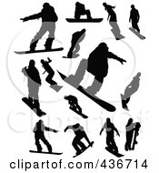 Royalty Free RF Clipart Illustration Of A Digital Collage Of Snowboarding Silhouettes