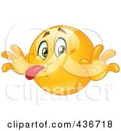 Royalty Free RF Clipart Illustration Of A Bratty Emoticon Sticking His Tongue Out
