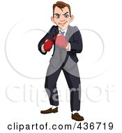 Royalty Free RF Clipart Illustration Of A Businessman Wearing Boxing Gloves