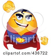 Royalty Free RF Clipart Illustration Of A Flying Emoticon Super Hero In A Red Cape by yayayoyo