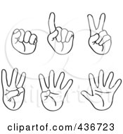 Royalty Free RF Clipart Illustration Of A Digital Collage Of Outlined Hands With Counting Fingers