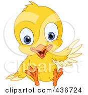 Royalty Free RF Clipart Illustration Of A Cute Yellow Chick Sitting And Waving by yayayoyo