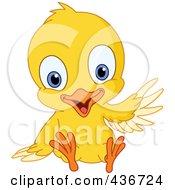 Cute Yellow Chick Sitting And Waving