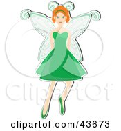 Clipart Illustration Of A Pretty Red Haired Fairy Wearing A Green Dress by mheld