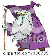 Old Wizard Using His Cane