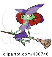Royalty Free RF Clipart Illustration Of A Beautiful Witch Sitting On Her Broomstick