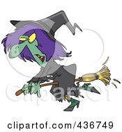 Royalty Free RF Clipart Illustration Of A Ragged Witch Flying On Her Broomstick by toonaday