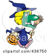 Royalty Free RF Clipart Illustration Of A Halloween Witch Girl Carrying A Pumpkin Basket