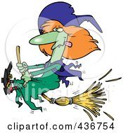 Royalty Free RF Clipart Illustration Of A Witch Halting Her Broomstick by toonaday