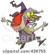 Royalty Free RF Clipart Illustration Of An Energetic Witch Jumping by toonaday