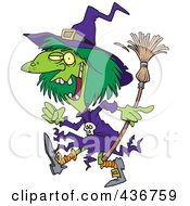 Royalty Free RF Clipart Illustration Of A Creepy Green Witch Walking by toonaday