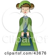 Clipart Illustration Of A Pretty French Woman Wearing A Green And Blue Outfit