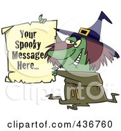 Royalty Free RF Clipart Illustration Of A Witch Holding Up A Piece Of Paper With Sample Text by toonaday
