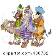 Royalty Free RF Clipart Illustration Of Three Wise Dudes Wearing Shades And Riding Camels