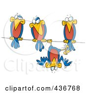 Royalty Free RF Clipart Illustration Of A Silly Bird Hanging Upside Down On A Wire By His Friends