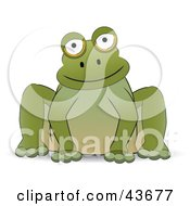 Clipart Illustration Of A Friendly Green Frog Sitting And Facing Front
