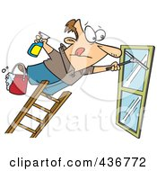 Royalty Free RF Clipart Illustration Of A Window Cleaner Leaning Far Over A Ladder by toonaday