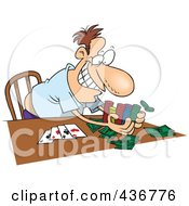 Royalty Free RF Clipart Illustration Of A Man Taking His Poker Winnings by toonaday