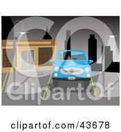 Clipart Illustration Of A Blue Car Parked In A Deserted City Parking Lot Under Night Time Lights by mheld