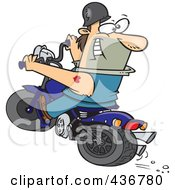 Royalty Free RF Clipart Illustration Of A Biker Riding A Blue Hog And Looking Back