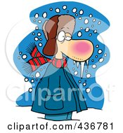 Royalty Free RF Clipart Illustration Of A Cold Winter Man Standing In The Snow With Frozen Snot by toonaday