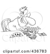 Royalty Free RF Clipart Illustration Of A Line Art Design Of A Man Taking His Poker Winnings by toonaday