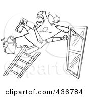 Royalty Free RF Clipart Illustration Of A Line Art Design Of A Window Cleaner Leaning Far Over A Ladder