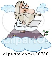 Royalty Free RF Clipart Illustration Of A Wise Man Using A Laptop On A Mountain by toonaday