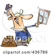 Royalty Free RF Clipart Illustration Of A Window Salesman Holding Up A Window