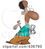 Royalty Free RF Clipart Illustration Of A Black Wind Up Businessman Holding A Hand Out And Looking At His Back