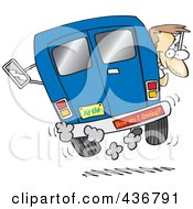 Royalty Free RF Clipart Illustration Of A Crazy Driver With A How Am I Driving Bumper Sticker by toonaday