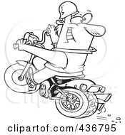 Royalty Free RF Clipart Illustration Of A Line Art Design Of A Biker Riding A Blue Hog And Looking Back by toonaday