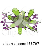 Royalty Free RF Clipart Illustration Of A Bug Splattered On A Windshield by toonaday