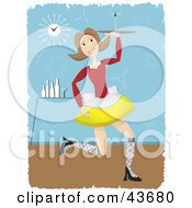 Clipart Illustration Of A Happy Female Cocktail Waitress Serving A Cocktail In A Bar