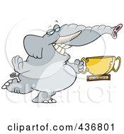Royalty Free RF Clipart Illustration Of A Successful Elephant Holding A Trophy Cup by toonaday