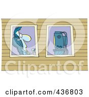 Royalty Free RF Clipart Illustration Of A View Of A Man Watching Television Through Windows by toonaday