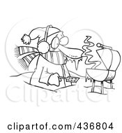 Royalty Free RF Clipart Illustration Of A Line Art Design Of A Cold Man Barbequeing Waist Deep In Snow