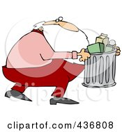 Royalty Free RF Clipart Illustration Of Santa Taking Out The Trash