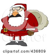 Royalty Free RF Clipart Illustration Of Santa Wearing A Disguise And Carrying A Sack by djart