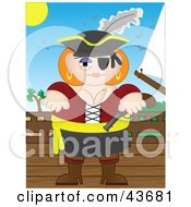 Clipart Illustration Of A Busty Female Pirate Holding A Pistil And Standing On A Ships Deck by mheld
