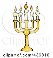 Royalty Free RF Clipart Illustration Of A Golden Menorah by Hit Toon