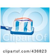 Royalty Free RF Clipart Illustration Of Toothpaste On A Blue Toothbrush Over Blue