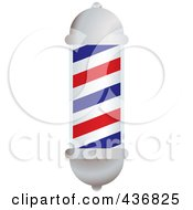 Royalty Free RF Clipart Illustration Of A 3d White Blue And Red Barbers Pole
