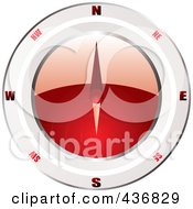 Royalty Free RF Clipart Illustration Of A Shiny 3d Red And White Compass by michaeltravers