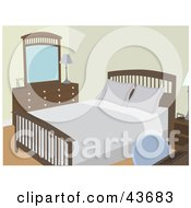 Clipart Illustration Of A Simple Bedroom With Wooden Furniture And A Made Bed by mheld #COLLC43683-0107