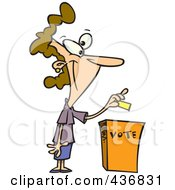Royalty Free RF Clipart Illustration Of A Cartoon Woman Putting Her Ballot Into A Vote Box by toonaday